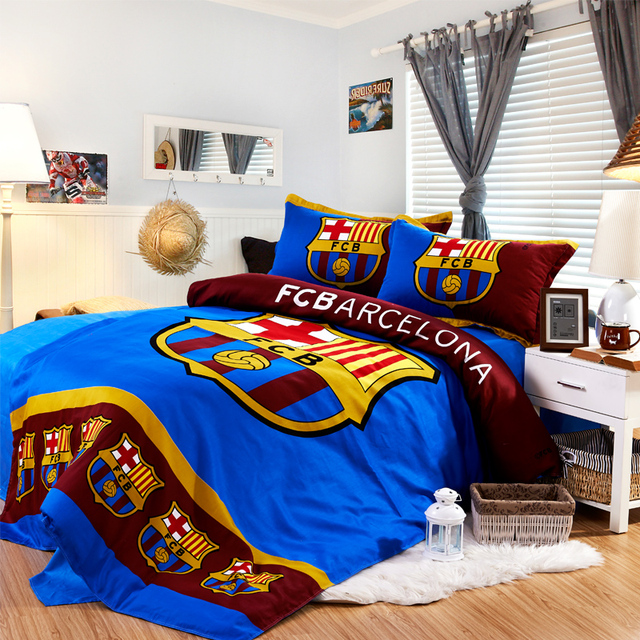 Free Shipping Barcelona Bedding Set World Cup Series Cotton Double Bed  Linen Duvet Cover Bedding Sets