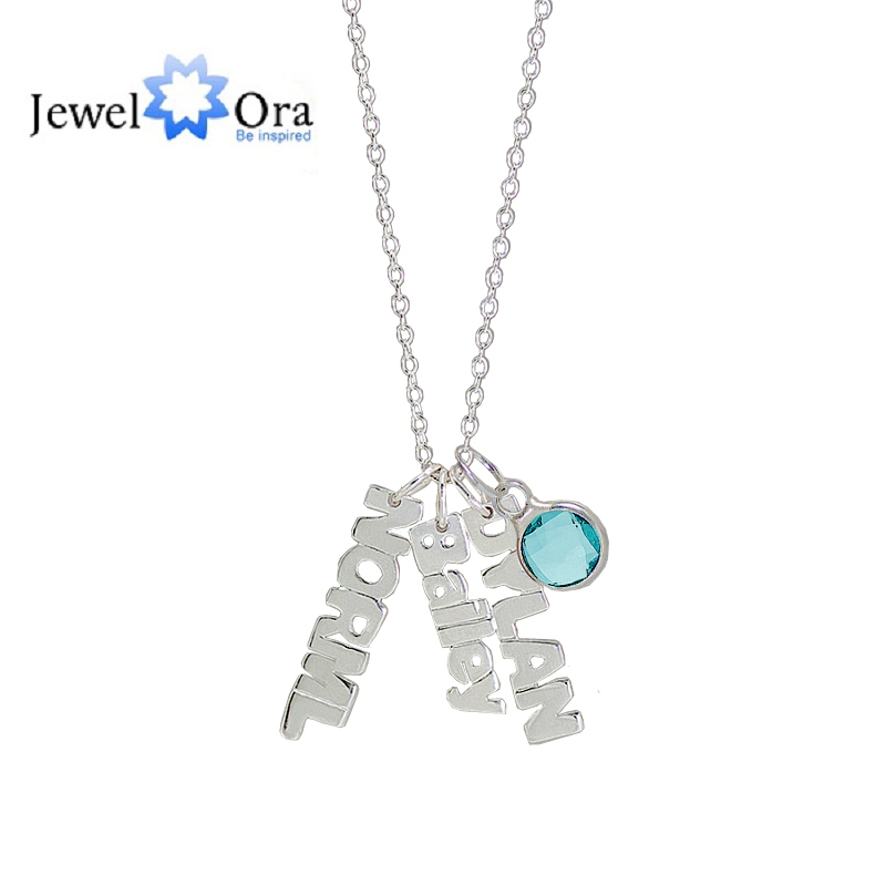 купить Personalized 925 Sterling Silver Birthstone Article Name Brand Necklace Unique Name Jewelry Birthday Gift (JewelOra NE101376) по цене 2501.63 рублей