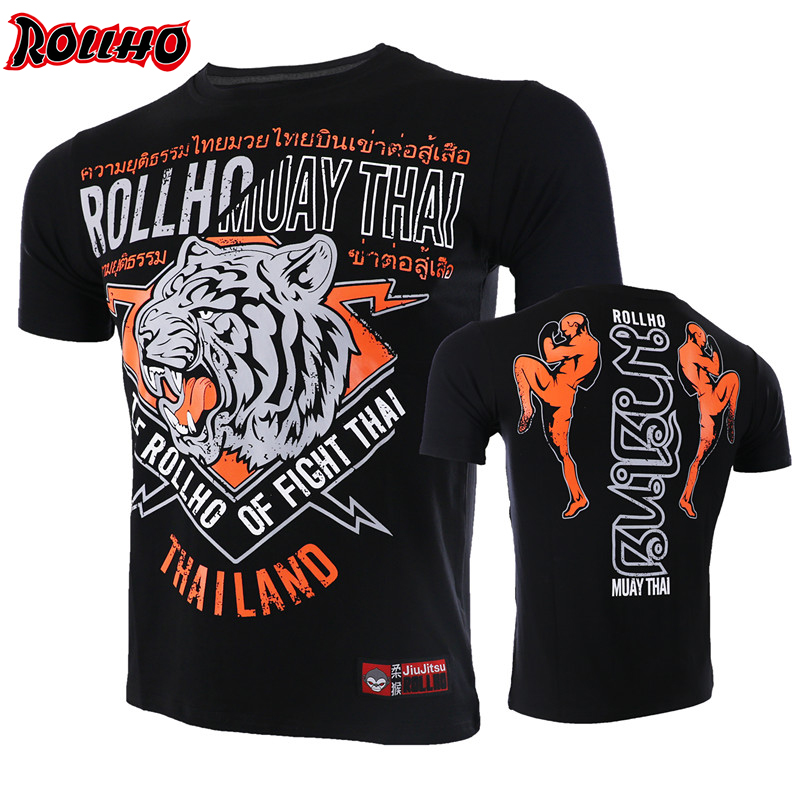 Elastic Body-building Tiger Quick Dry Boxing MMA T Shirt Gym Tee Fighting Martial Arts Fitness Training Homme Boxe Sports Shirts