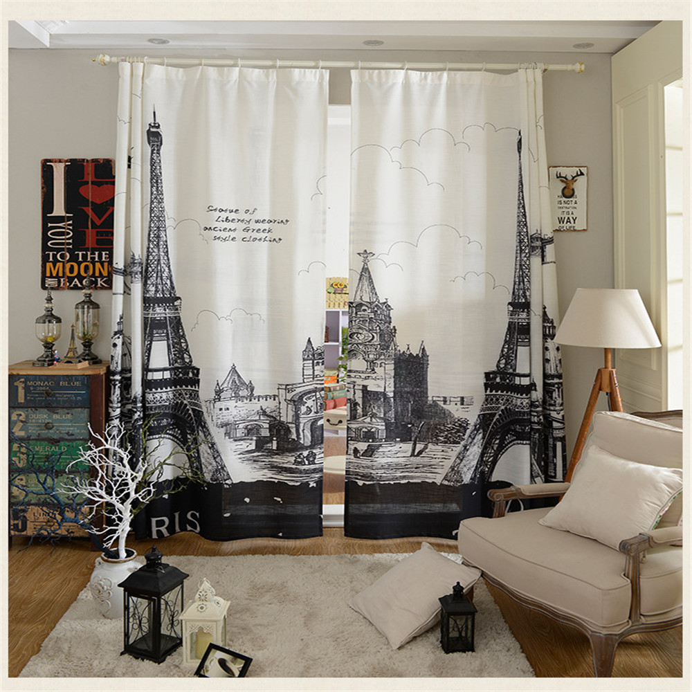 Modern Paris Curtain For Living Room Home Decoration 2pc 14mx27m X 2 PANEL Bedroom Sheer Window Pairs Eiffel Tower In Curtains From Garden