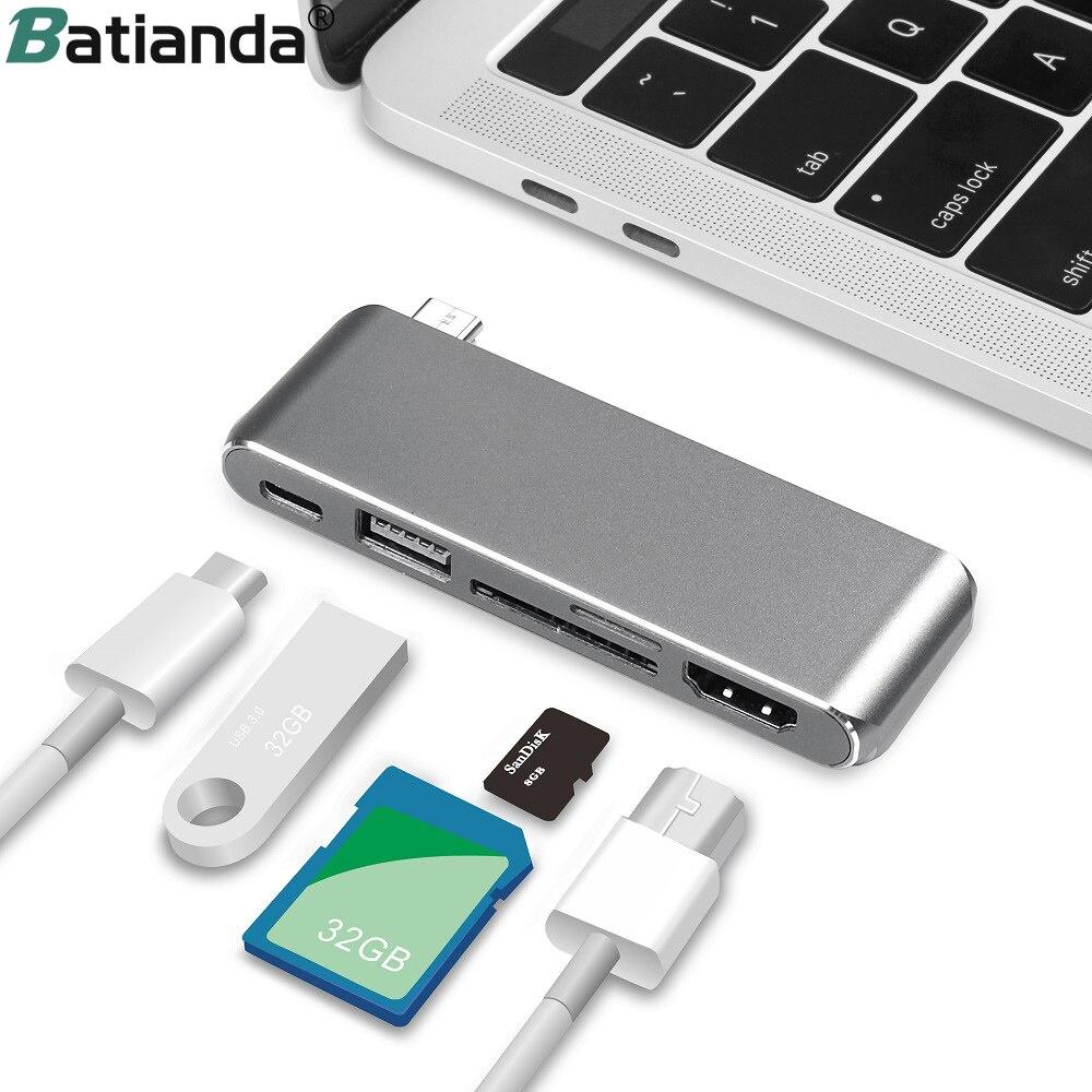 5 в 1 USB C type C концентратор HDMI для Macbook Pro Air 2019 USB C концентратор USB разветвитель 3,0 адаптер TF/SD кард ридер type C для macbook 12