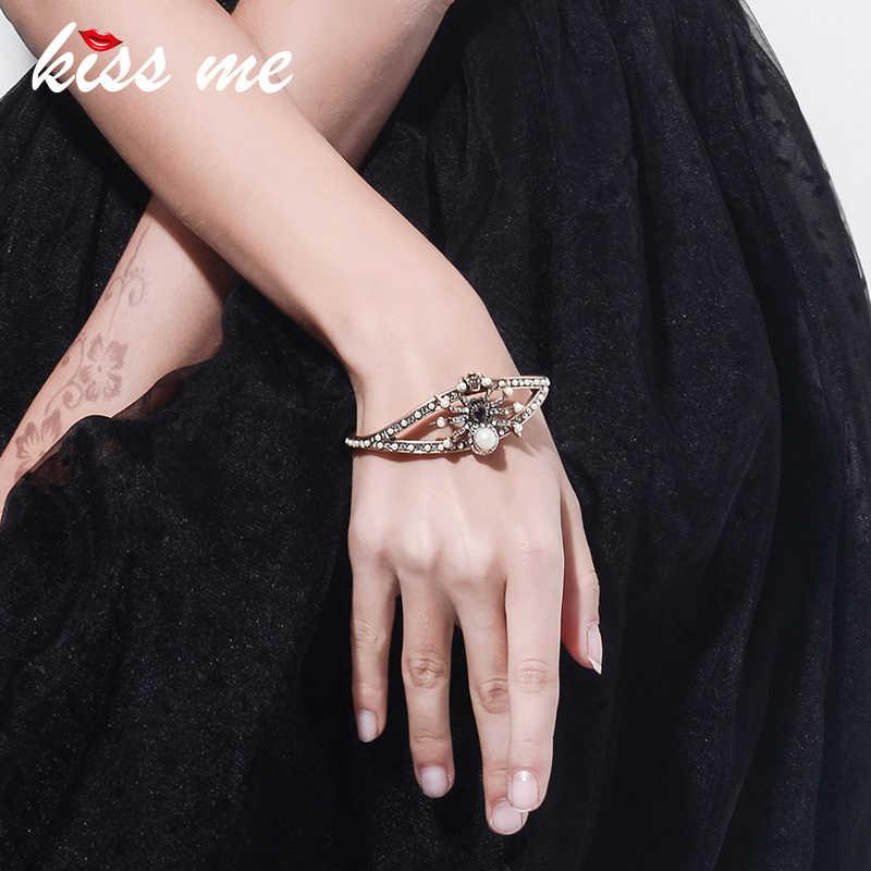 キス私ブランド模造真珠ラインストーン昆虫クモスカルチャームブレスレット & バングル 2018 合金ヴィンテージバングル女性ジュエリー