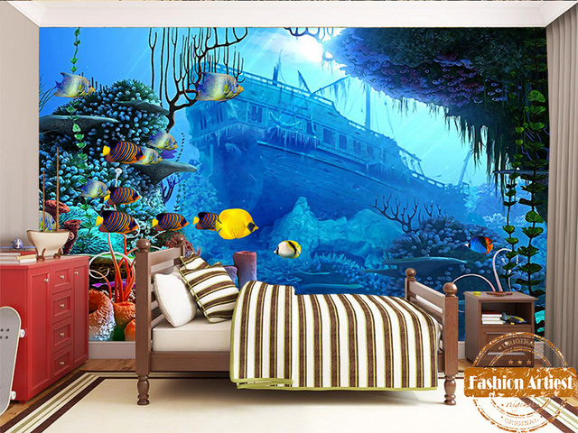 Custom Kids Boys Cartoon Underwater Aquarium Wallpaper Mural Sea Fish Ship Wreck Tv Sofa Children Bedroom Living Room Cafe Bar