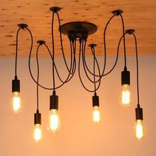 Modern Nordic Retro Edison Bulb Light Chandelier Vintage Loft Antique Adjustable DIY E27 Art Spider Pendant Lamp Home Lighting(China)
