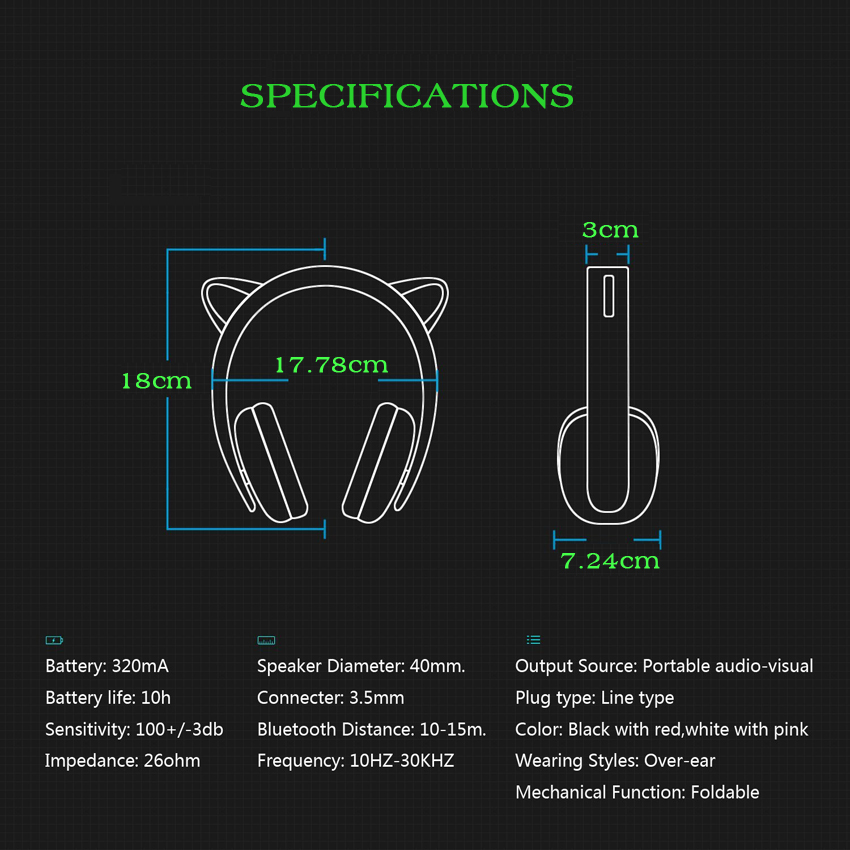 Aliexpress compre detachable wireless cat ear headphone aliexpress compre detachable wireless cat ear headphone bluetooth with led glowing for pc computer mobile phone best headset for kids girls de ccuart Choice Image