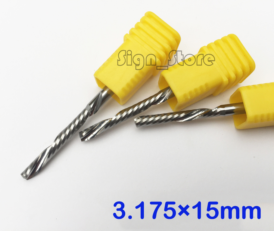 5pc 3.175x15mm Down Cut Cutters,Left-handed 1 Flute End Mill Carbide Cutting Tools Bits on Clean Machining Acrylic/Woodworking