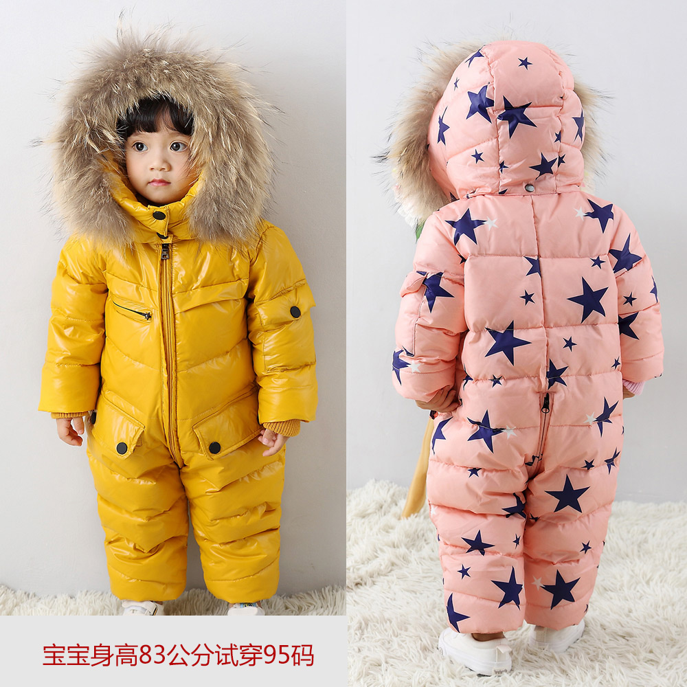 2017 winter christmas baby boys and girl clothes infantil jumpsuit Star pattern duck down jacket baby rompers kids warm coats christmas 2017 brand new winter newborn infantil baby rompers kid boys and girls clothing real fur jumpsuit down overall jacket