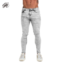 Gingtto Skinny Jeans Men Light Grey 2019 Brand Mens Jeans Big Sizes Slim Fit Pants For Man Ankle Tight Fit Plus Size zm71