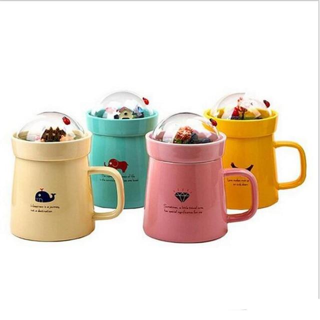 Creative Cute Ceramic Coffee Mug Micro Landscape Mugs Milk Tea Cups and Mugs with Lid Porcelain Cups Drinkware Christmas Gift