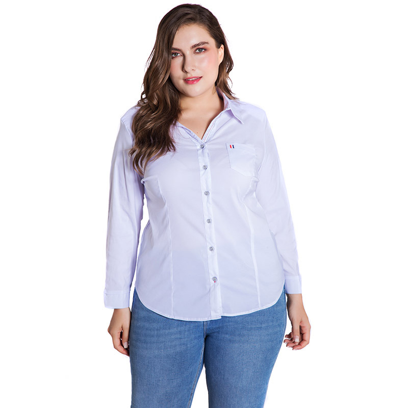 LALAIKAI Plus Size XL 2XL 3XL 4XL 5XL 6XL White Solid Blouse Women Full Sleeve Button Tops Slim Office Ladies Shirt SWA1540-47 1