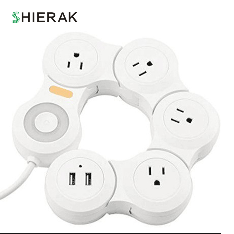 SHIERAK Creative US Plug Deformable Socket 15A Power Strip 4 Outlets With 2 USB Ports Kitchen Plug Sockets top deals displayport dp male to dvi hdmi vga audio female adapter display port cable converter for computer