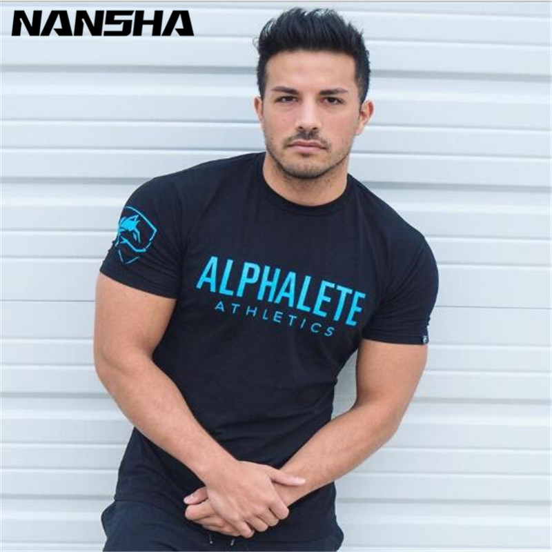 ALPHALETE Summer New Men Gyms T Shirt Fitness Bodybuilding  Slim Shirts Fashion Leisure Short Sleeved Cotton Tee Tops