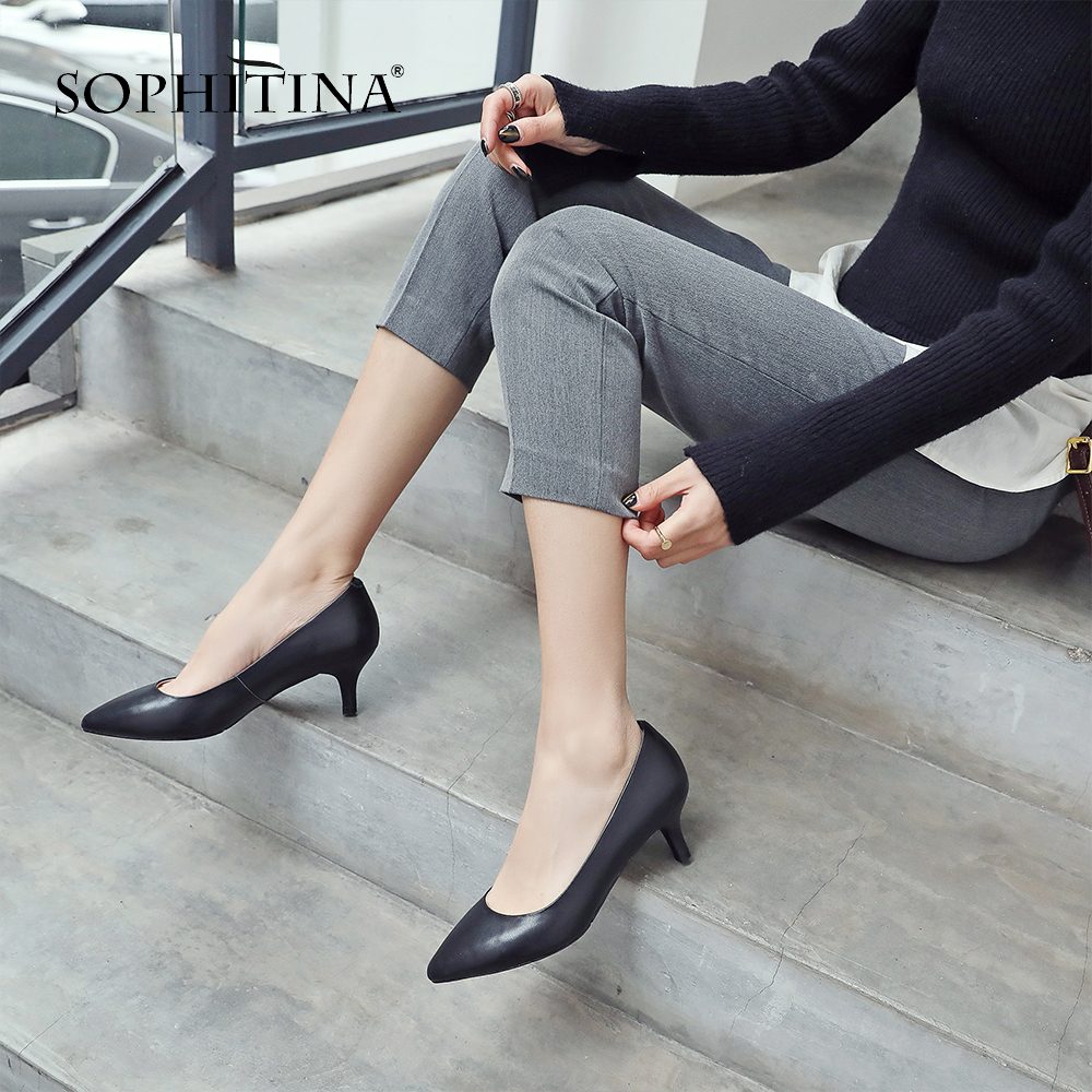 SOPHITINA Stylish Shallow High Heel Ladies Pumps Sexy Pointed Toe Thin Heel Slip On Shoes Casual