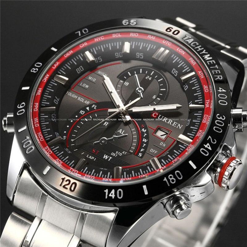 Mens Watches Top Brand Luxury Analog Display Stainless Steel Watches Men Quartz Watch Curren Watch Male