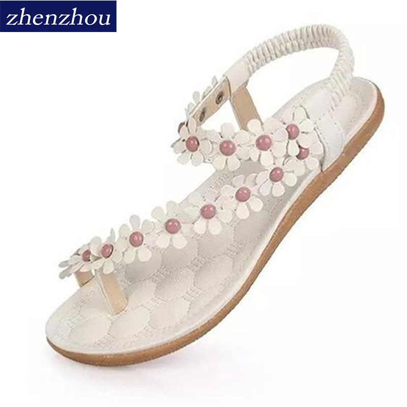все цены на 2017 Women's shoes woman sandals Bohemia summer sandal shoes pinch the new clip toe flowers flat han edition with beach shoes в интернете