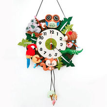 New Animals Theme Wall Clock 32X40CM Handmade Clock For Children Bedroom Decoration Free Cutting Felt Material DIY Package(China)
