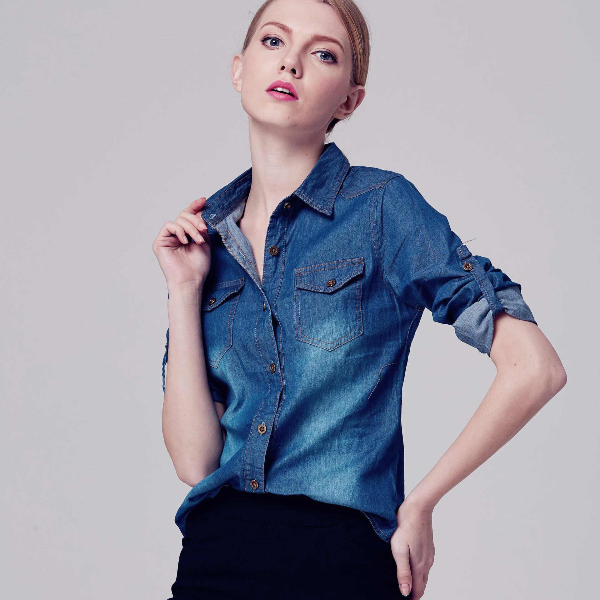 Джинсовая женская куртка 2019 осенние женские джинсовые куртки S ~ 3XL с длинным рукавом и отложным воротником синие женские Топы Рубашки Блузы Feminina