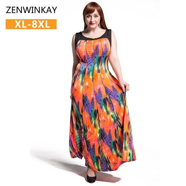 1bbf137174c 2017 Beach Sundresses Women Summer Dress Casual Boho Maxi Dress Colorful  Bohemian Dress Plus Size xxl xxxl 4xl 5xl 6xl 7xl 8xl