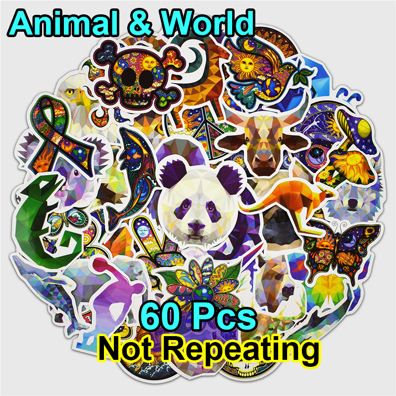 60 pcs Galaxy Animal World Peace Mix Stickers for Laptop Phone Skateboard Luggage Car Funny Graffiti Decals Cool DIY Sticker