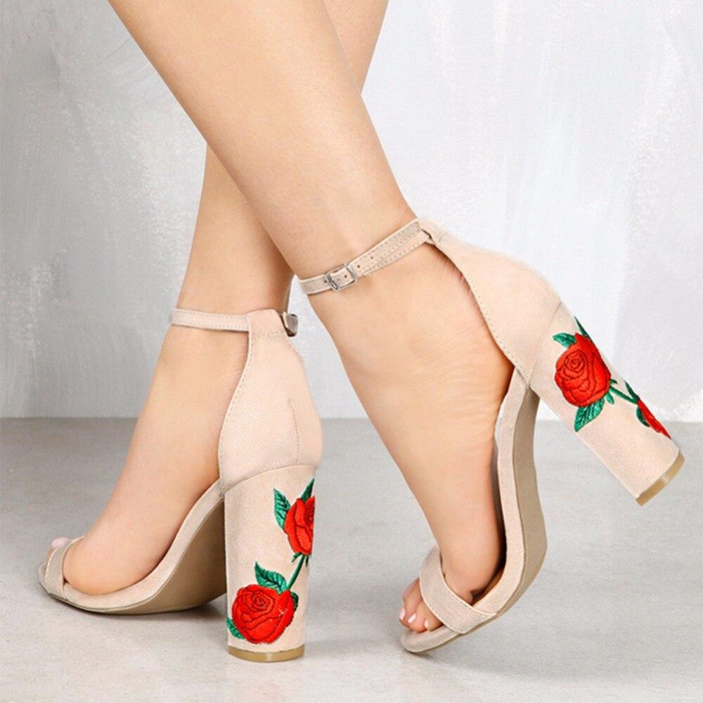 46c92544e Ella Era Sexy mujeres bombas tobillo hebilla bordar sandalias 2018 mujeres  tacones altos zapatos de las mujeres 10