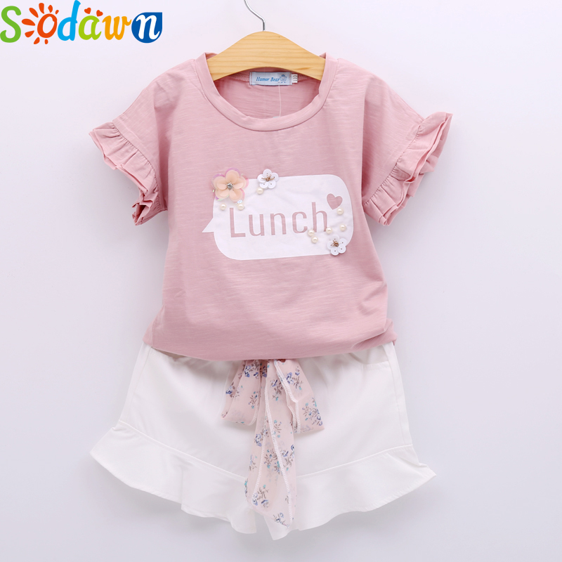Sodawn 2017 Summer Baby Girls Clothes Letters short Sleeve T-Shirt + Skirt Short Pants 2Pcs Girls Clothing Sets Children Clothes girls in pants third summer