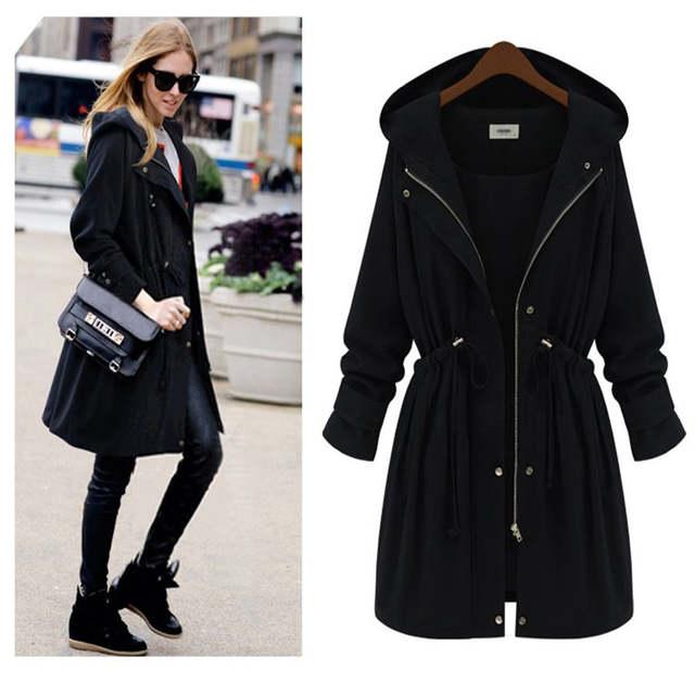 f83615526 Winter Women Arm Green Long Coat Slim Waist Trench Black Plus Size Hooded  Long Outwear Winter Thick Down Coats Femme 4XL