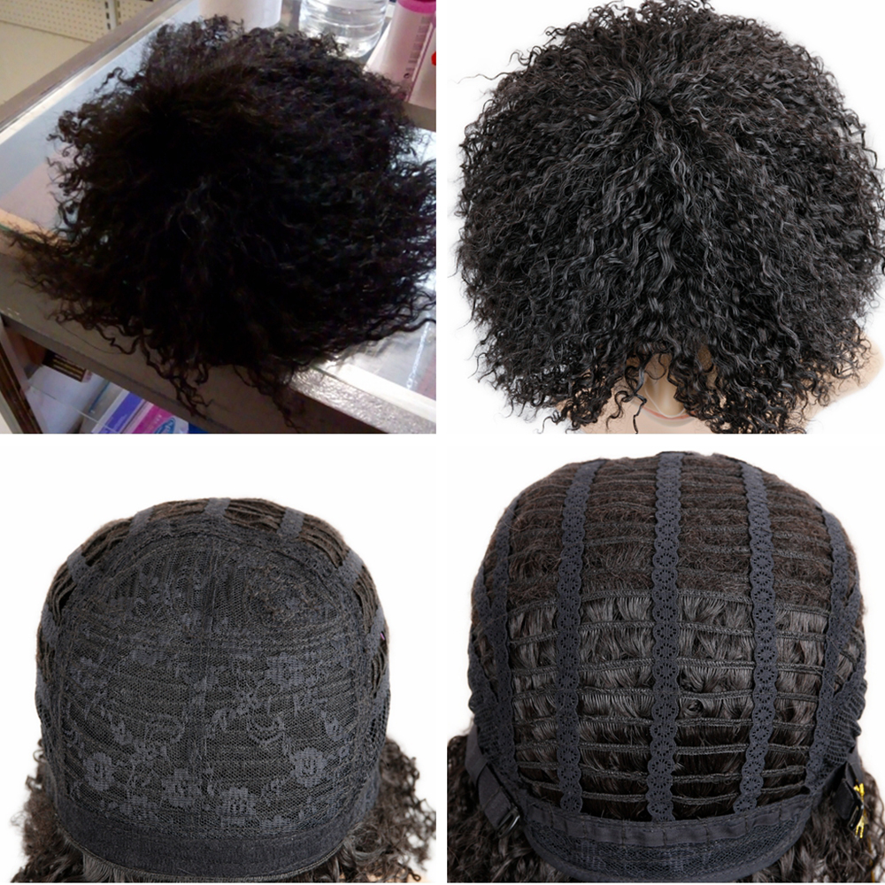 Image 3 - FAVE 12 Inches  Short Afro Curly Synthetic Wig Natural Black For Black Women High Temperature Fiber Cosplay Fashion WigsSynthetic None-Lace  Wigs   -