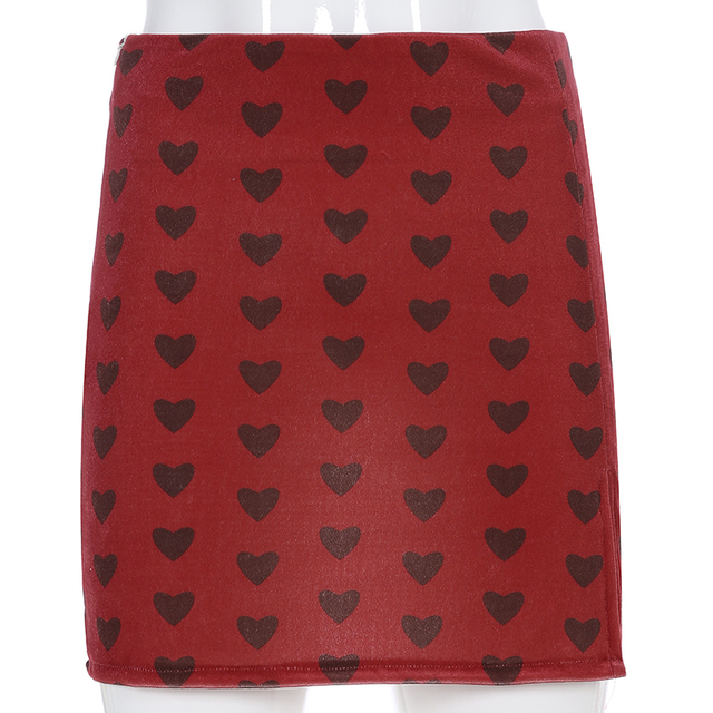 Sweetown Red Velvet High Waist Skirt Streetwear Heart Print Zipper Cute Skirts Womens Preppy Style A-Line Mini Skirt Harajuku 4