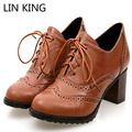 LIN KING Brand Vintage Lace Up Thick Heel Boots Shoes For Women Big Size 34-43 High Heels Women Oxfords Shoes Woman Lolita Shoes