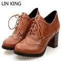 LIN REI Marca Rendas Até Botas de Salto Grosso Do Vintage Sapatos Para mulheres Tamanho Grande 34-43 Saltos Altos Mulheres Oxfords Sapatos Mulher Lolita sapatos