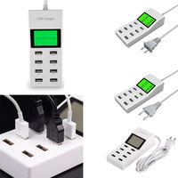Top Quality US EU UK 8 USB Ports US EU UK Plug Led Display Travel Smart