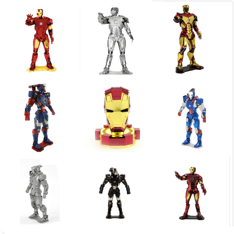 Model-Kits Puzzles Marvel Avengers Iron-Man Metal War-Machine Captain-America Home-Decor