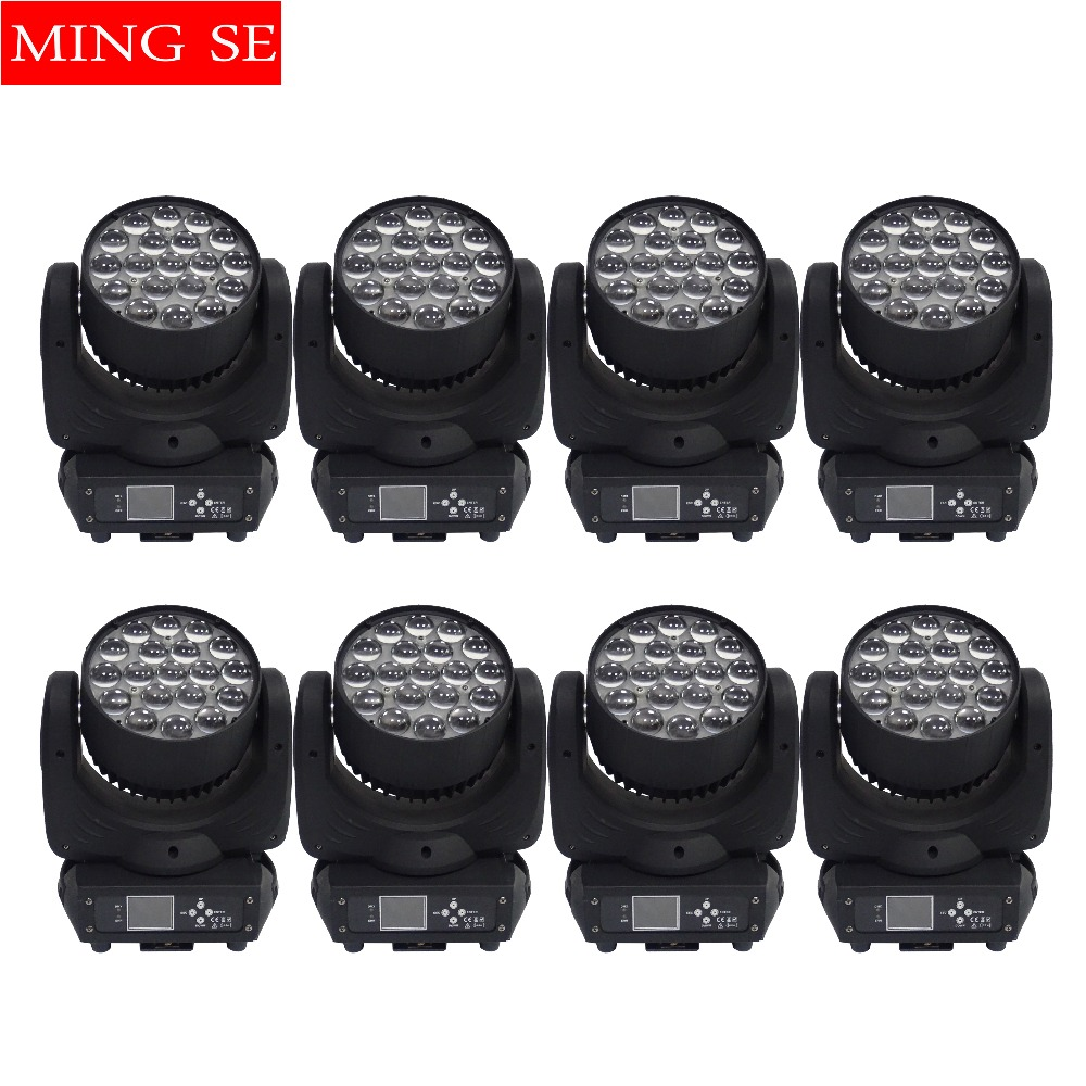 8pcs/lots 19x15w RGBW 4in1 Moving Head Light Zoom Light Wall Wash light With Circle Control Function Wedding Show Stage Light8pcs/lots 19x15w RGBW 4in1 Moving Head Light Zoom Light Wall Wash light With Circle Control Function Wedding Show Stage Light