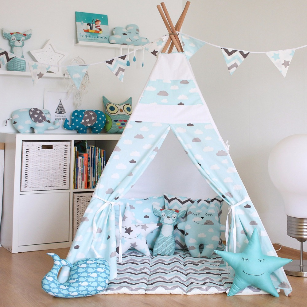 YARD Kids Teepee Children Play Cotton Portable Kids Castles Foldable Playhouse Tent Indian House