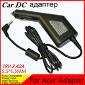 Free shipping High quality DC Power Car Laptop Adapter Charger For Acer 19V 3.42A 5.5*1.5MM 65W Input DC11-15V max 10A