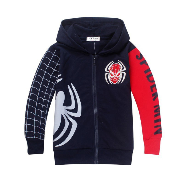 2019 Retail fashion Children's Coat Boys Spiderman Embroidered Hoodie Jackets Kids Cartoon Clothes Baby Boys Outerwear