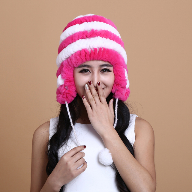 Earmuffs Hat Ma'am Winter Day Leather And russian Fur Rex Rabbit's Hair Hat Fashion Front Keep Warm Cold-proof