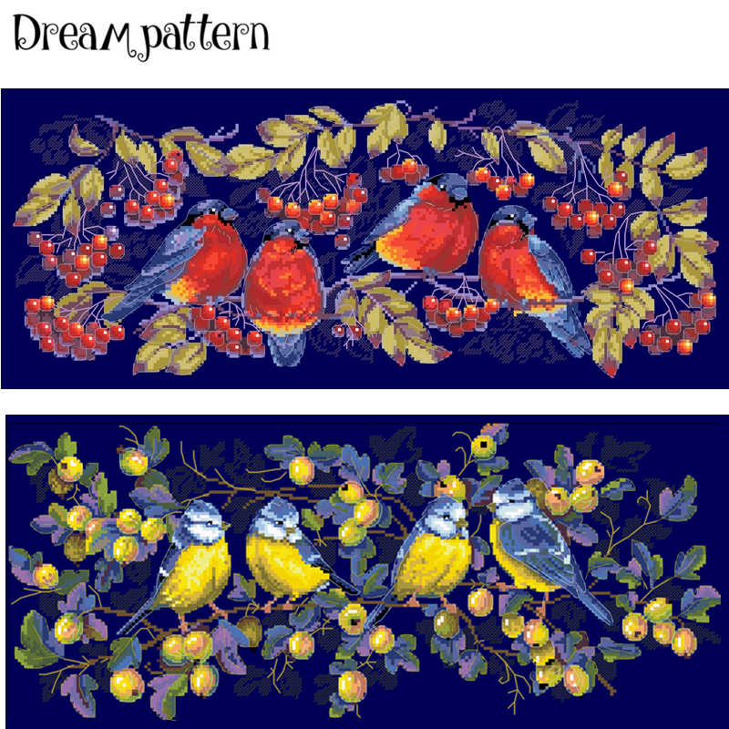 Red covered with branches cross stitch kit aida 14ct 11ct count deep blue canvas stitches embroidery DIY handmade needlework