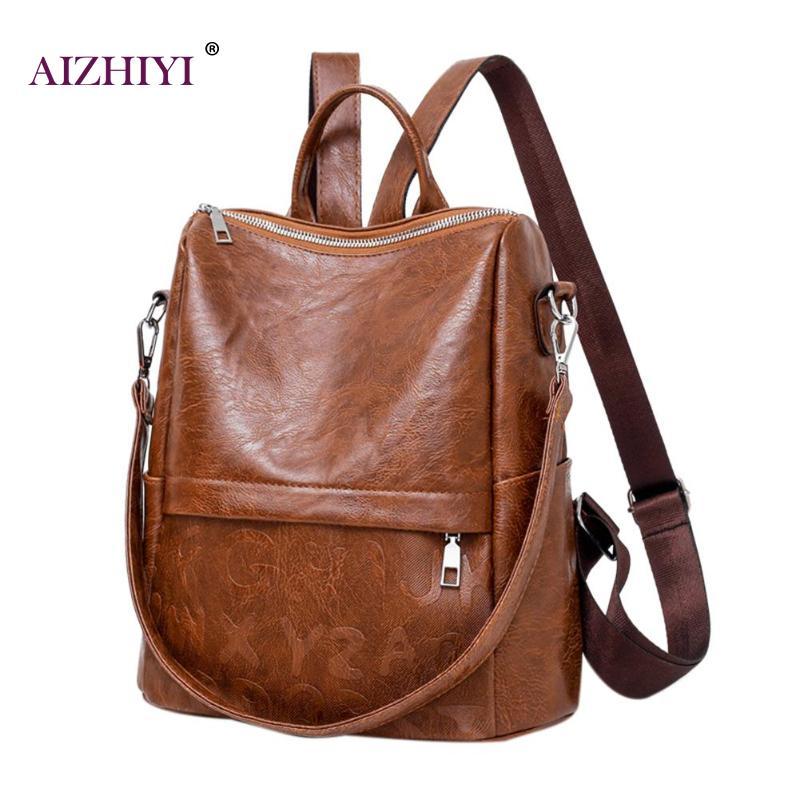 Travel Casual Women Leather Backpack Teenage Girls School Fashion Backpack Big Capacity Shoulder Travel Bag Female Rucksack