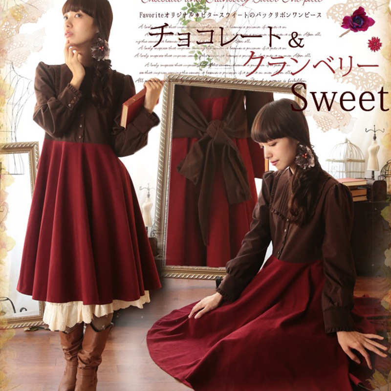 Fille Angleterre Lolita Short Preppy Harajuku Robe Style long Longues Patchwork Manches Femmes Style Élégant A158 Debout Mori Vintage Col Bouton 5wTwXZ