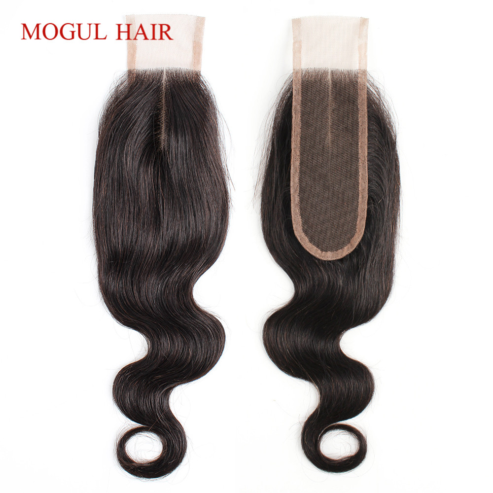MOGUL HAIR 1 PC Hand Tied 2*6 Lace Closure Body Wave Natural Color Dark Brown Color 2 Color 4 Peruvian Remy Human Hair