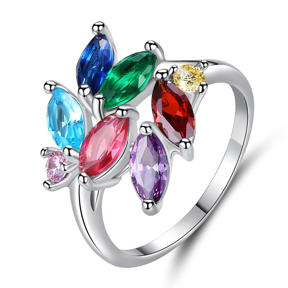 Hainon New Shiny Silver Color Ring of Red/Blue/Green/Purple Crystal Leaf Ring for Women Unique Engagement Wedding Ring Jewelry(China)