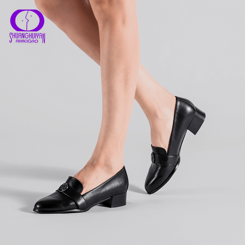 492d7f18e1 AIMEIGAO Medium Heels Classic Shoes Women Pumps PU Leather Square Heel Shoes  Black Thick Heels Spring Autumn Women Shoes
