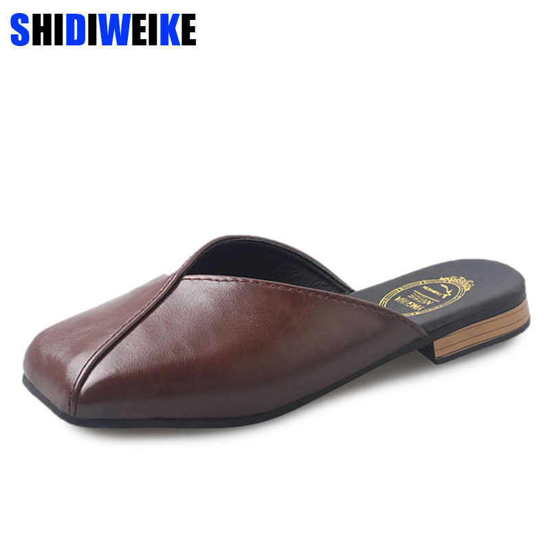 Fashion Women Slippers Slip On Mules Shallow Flat Shoes Square Low Heel Women Work Shoes Casual Slides Ladies Loafers m744