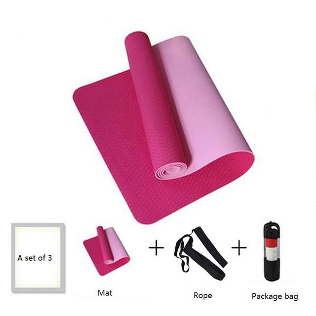 6mm No-slip Yoga Mat 183*61cm TPE Sports Gym Mat Fitness Esterilla Pilates Gymnastics Camping Pad With Bag Bandage
