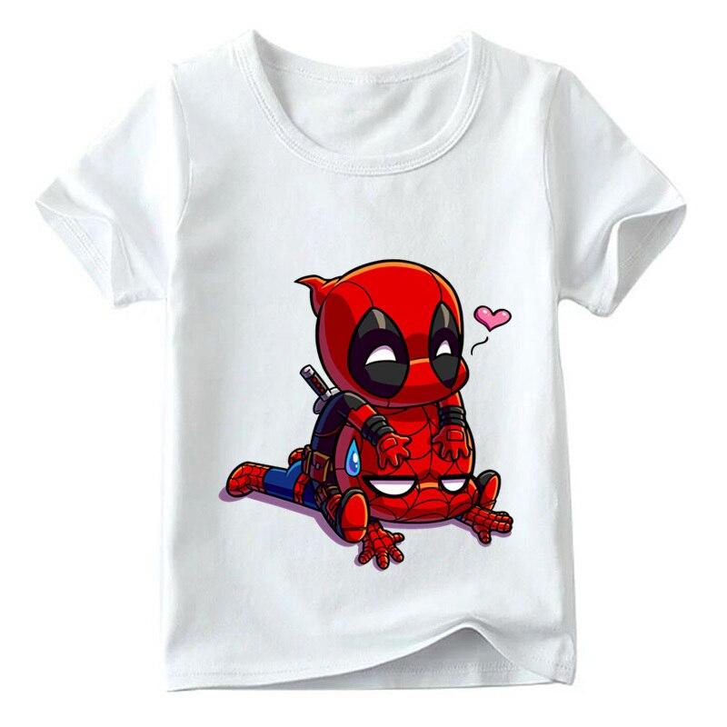 Enfants de Bande Dessinée Deadpool et Spiderman Superhero Drôle t-shirt Bébé Garçons/Filles D'été hauts T chemises Enfants vêtements décontractés, ooo2407