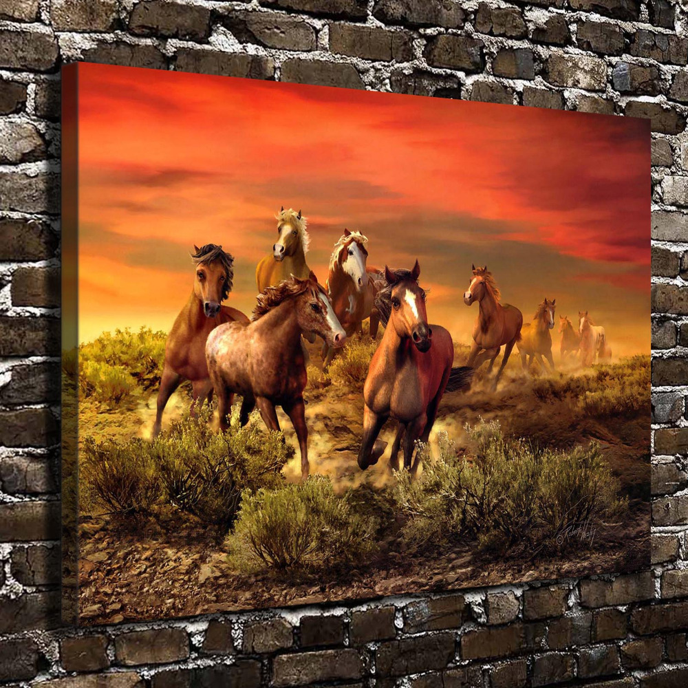 A0641 Natural Scenery Horse Animal Sunset Glow. HD Canvas Print Home decoration Living Room bedroom Wall pictures Art painting