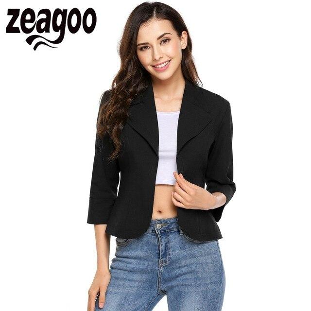 c390b8ecebd Zeagoo Women Casual Turn Down Collar Lightweight 3 4 Sleeve Solid Fitted  Open Blazer 2018