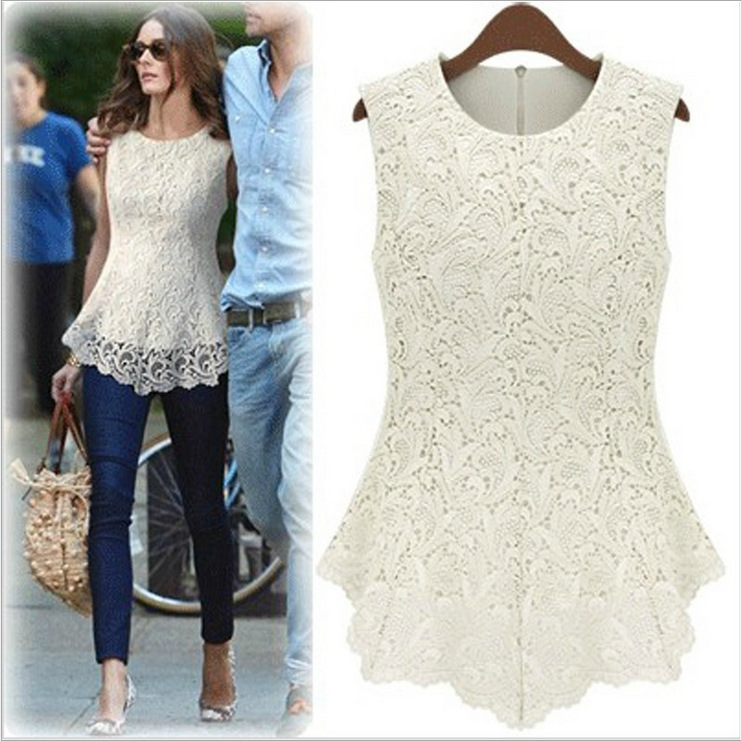 S//M//L Women Sleeveless Chiffon Chrocet Lace Top Summer Causal Sheer Blouse Shirt