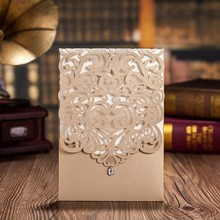 100pcs Vertical Gold Classic Style Engagement Wedding Invitations Cards Custom With Rhinestone Laser Cut Flower CW5010